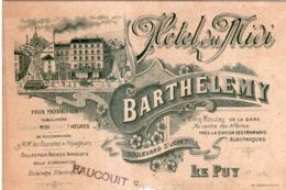 HOTEL DU MIDI BARTHELEMY 7 Boulevard Saint- Jean  LE PUY (haute Loire) CARTE PUBLICITAIRE DE 9 X 13.5 Cm - Reclame