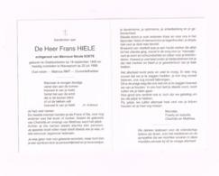 Frans Hiele.Oostduinkerke,18.9.1935,Nieuwpoort,22.7.1998.Oud Visser,matroos RMT. - Avvisi Di Necrologio