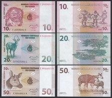 Kongo - Congo 10,20,50 Centimes 1997 Pick 82,83,84  UNC (1)   (19758 - Billetes