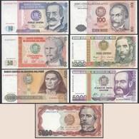 Peru 7 Stück Banknoten 1985/88 UNC (1)    (24012 - Billetes