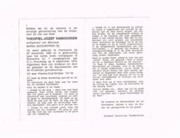 Theofiel-Jozef Vanhooren,Handzame, 23.12.1882,Roeselaere,8.9.1975.Oud-strijder 1914-18 - Avvisi Di Necrologio