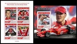 DJIBOUTI 2019 - M. Schumacher, Ferrari, M/S + S/S. Official Issue [DJB190409] - Cars