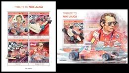 SIERRA LEONE 2019 - Niki Lauda, Ferrari. M/S + S/S Official Issue [SL190807] - Cars
