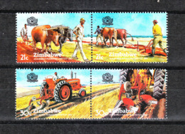 Zimbabwe - 1983. Agricoltura : Metodi Antichi E  Moderni. Agriculture: Ancient Methods And Modern. Complete MNH Series - Agricoltura