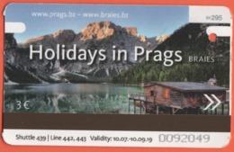 ITALIA - ITALY - ITALIE - 2019 - Trasporto Integrato Alto Adige - San Candido-Braies - Biglietto Autobus Shuttle - Used - Autobus