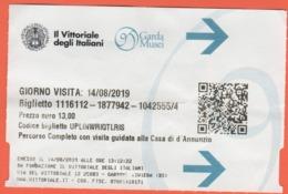 Il Vittoriale Degli Italiani - Garda Musei - Casa Di D'Annunzio - Biglietto D'ingresso - Usato - Biglietti D'ingresso