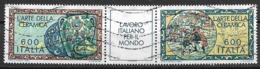 ITALia 1985 IL LAVORO ITALIANO PER IL MONDO SASS. 1704-1705 USATO VF TRITTICO - 6. 1946-.. Repubblica