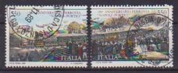 ITALia 1989 INAUGURAZIONE DELLA FERROVIA NAPOLI-PORTICI SASS. 1880-1881 USATO VF DITTICO - 6. 1946-.. Repubblica