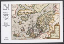 Iceland 1984 Mi# Bl.6 (CTO) NORDIA '84 INTERNATIONAL STAMP EXHIBITION, MAP OF NORTHERN EUROPE 1570 - Neufs