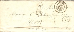 1840- Enveloppe De NANTUA ( Ain) Cad T14 Pour Yon -au Dos: Direction De Nantua / DOUANES - Marcofilia (sobres)