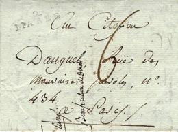An 6 - Lettre De 2 / MARLE ( Aisne ) 23 X 7 Mm Noir Taxe 6 D. Pour Paris (au Dos, Arrivée 28 Dans Un Cercle Noir ) - Marcofilia (sobres)