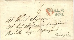 Lombardia-Veneto- 1848- Lettre De NOALE / 6  AGO  Ve / Az  Vollmeier N° 3 Pour Venezia - 1. ...-1850 Prefilatelia