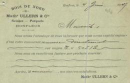 Entier Postal 10c BOIS DU NORD  Math ILLERN & Cie Sciages Parquets HONFLEUR  Vers Lapalisse Allier RV - Honfleur