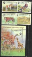 UZBEKISTAN, 2019, MNH, TASHKENT ZOO, FAUNA, TIGERS, GIRAFFES, SNAKES, BIRDS, HORSES, 4v+S/SHEET - Big Cats (cats Of Prey)