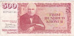 Islande - Billet De 500 Kronur - Jon Sigurdsson - 22 Mai 2001 - P58 - Islande