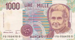 Italie - Billet De 1000 Lire - 3 Octobre 1990 - M. Montessori - [ 2] 1946-… : République