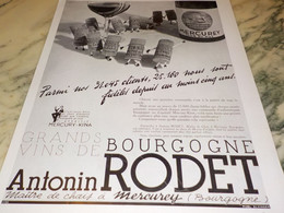 ANCIENNE PUBLICITE GRANDS VIN DE BOURGOGNE ANTONIN RODET 1937 - Reclame