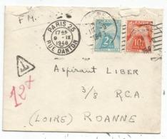 TAXE 2FR+10FR ROANNE LOIRE 1948 LETTRE FM Mal Ouverte En Haut - Poststempel (Briefe)