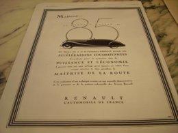 ANCIENNE PUBLICITE VOITURE NOUVEAU MOTEUR 85 RENAULT 1935 - Reclame