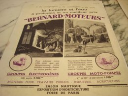 ANCIENNE PUBLICITE LUMIERE ET L EAU BERNARD-MOTEURS 1935 - Reclame
