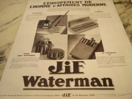 ANCIENNE PUBLICITE  HOMME D AFFAIRE  JIF WATERMAN 1933 - Other Collections