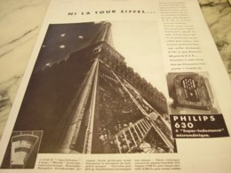 ANCIENNE PUBLICITE NI LA TOUR EIFFEL PHILIPS 630 1933 - Reclame