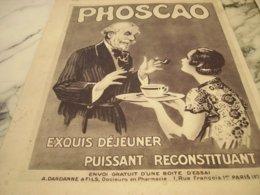 ANCIENNE PUBLICITE CHOCOLAT PHOSCAO EXQUIS 1933 - Reclame