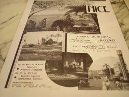 ANCIENNE PUBLICITE VOS VACANCES  A NICE 1934 - Reclame