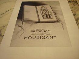 ANCIENNE PUBLICITE PARFUM HOUBIGANT PARFUM PRESENCE 1934 - Reclame