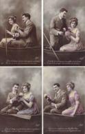 Série De 4 CPA Avec Couple Dans Une Barque Signées Masel (série 627) - Ont Voyagé à Haine-St-Pierre En 1912 - Illustrateurs & Photographes