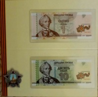 Transnistria 2015 -  Set 1+10 Rubles - 70 Years Of Victory Pick NEW UNC Booklet - Banknoten