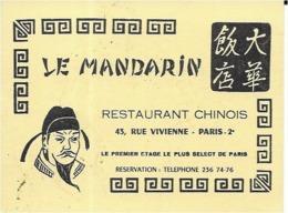 75 PARIS .  LE MANDARIN RESTAURANT CHINOIS 45 RUE VIVIENNE . ( Carte De Visite ) - Distretto: 02