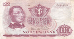 Norvège - Billet De 100 Kroner - Henrik Wergeland - 1964 - P38a - Noorwegen
