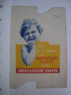 Ancienne Publicite Carton BOITE Fautee AD Bebe Napolitains CHOCOLATERIE LANVIN - Reclame