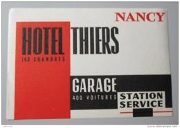 HOTEL AUBERGE MOTEL THIERS NANCY PARIS FRANCE DECAL STICKER VINTAGE LUGGAGE LABEL ETIQUETTE AUFKLEBER - Hotel Labels