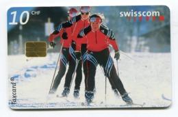 Telecarte °_ Suisse-93-Fond.3 Skieurs- R/V A170 ° TBE - Zwitserland