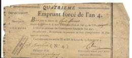 POLIGNY Jura BON Du 4ème Emprunt Forcé De L' AN 4. BON DE 100 FRANCS   ....G - Zonder Classificatie