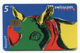 Telecarte °_ Suisse-116-Rhinocéros Coloré-5CHF- R/V 26EF °TBE - Zwitserland