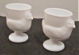 *2 FRENCH MILK GLASS EGG-CUPS * Figuring Chicken - Dishware, Glassware, & Cutlery
