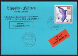Germany 1989 / Zeppelin Fahrten -  Mittelmeer Fahrt 1929 - LZ 127 Graf Zeppelin -  Friedrichshafen 25.-4.89 - Zeppelins