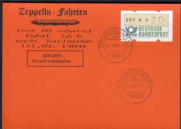 Germany 1989 / Zeppelin Fahrten Nach Karlsruhe -  11.09.1909 - Fahrt LZ 6 - Friedrichshafen 11.-9.89 - Zeppelins