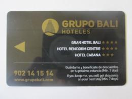 Benidorm-Spain,hotel Bali Room Key Plastic Card - Cartas De Hotels