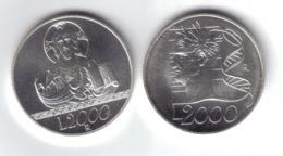 2000 LIRE L'UEOMO E LA FEDE 1998 2 MONETE  TOP PRICE B.093 - 1946-… : República