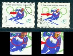 1964 Innsbruck Olympics,Downhill,Poland,Shifted Black Print To Bottom Error,VFU - Winter 1964: Innsbruck