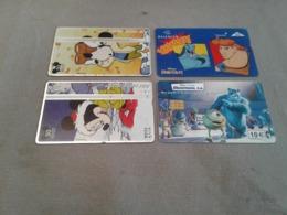 4 Nice Disney Phonecards - Telefoonkaarten