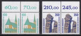 BRD, 1989, Sehenswürdigkeiten (VI), 2 Waagerechte Paare Mit Oberrand Mi.Nr. 1406-1407 ** - Ungebraucht