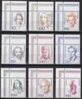 BRD, 1988-1999, Frauen Der Deutschen Geschichte, 9 Eckrandstücke ** Oben Links Aus Kleinbogen - Ungebraucht
