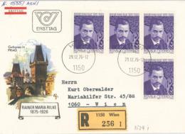 Literatur Rainer Maria Rilke - 1150 Wien 1976 - Jugendstil Lyrik Gedichte R-Brief FDC - Writers