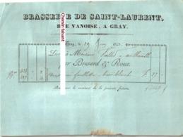 Document Du 29/06/1843 BRESARD & ROUX Brasserie De SAINT-LAURENT Rue Vanoise à GRAY 70 Pour VIELLET Autoreille - France