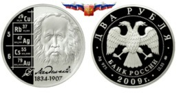 Russia 2 Rubles 2009 Scientist D.I. Mendeleyev Silver 1/2 Oz PROOF - Russie